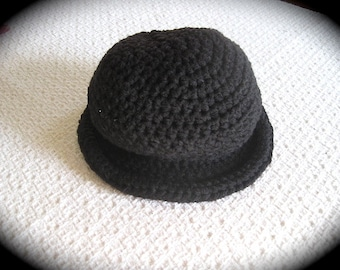 Baby Bowler Hat, Crochet Baby Toddler Boy Hat, 1-3 years, Black Bowler Hat, Derby Hat, Baby photo prop, Halloween costume