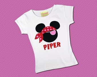 Girls Mouse Pirate Shirt with Embroidered Name