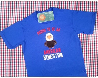 Boy's 'Proud to be an American' Patriotic Eagle Shirt with with Embroidered Name