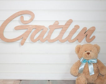 wooden name sign Name Plaque DIY Large Unpainted Personalized nursery  baby name wall hanging nursery decor wooden wall art, above a crib