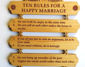 Christmas Gift a Couple,Ten Rules for a Happy Marriage Wall Decor, Anniversary wooden Gift, Gift for Her, Gift for Him,Valentines Gift.