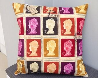 "Prestigious 1st class postage stamp British 16"" cushion cover"