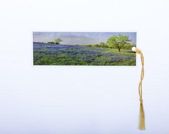 Laminated bookmark of beautiful panorama of Bluebonnets.