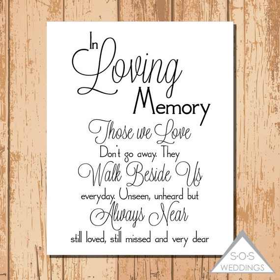 In loving memory wedding sign printable pdf jpeg by sosweddings for In loving memory free printable
