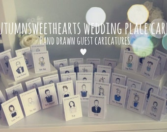 Unique handmade caricature place name cards perfect for your wedding.
