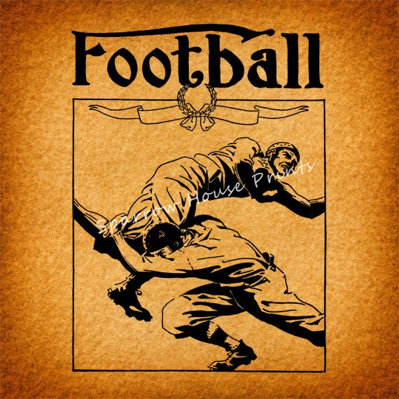 Items similar to vintage football print wall art sports for Vintage basketball wall art