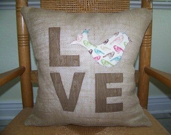 Bird pillow cover, Burlap Love Bird Pillow Cover, Burlap pillow, FREE SHIPPING!