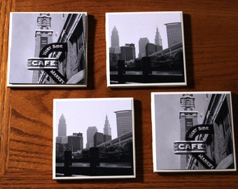 Cleveland Skyline & West Side Market Coaster // Ceramic Coasters Set of 4// Home Decor