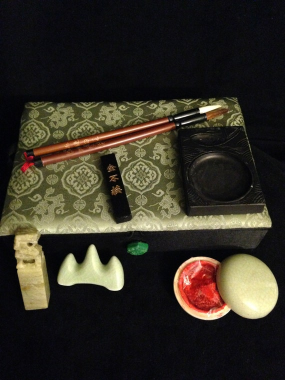 Vintage 1980 39 S Chinese Calligraphy Set