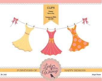 Dress Clothesline Clipart Set ·Digital Scrapbook ·Clip Art · Prom Dress · Personal & Commercial Use ·Instant Download