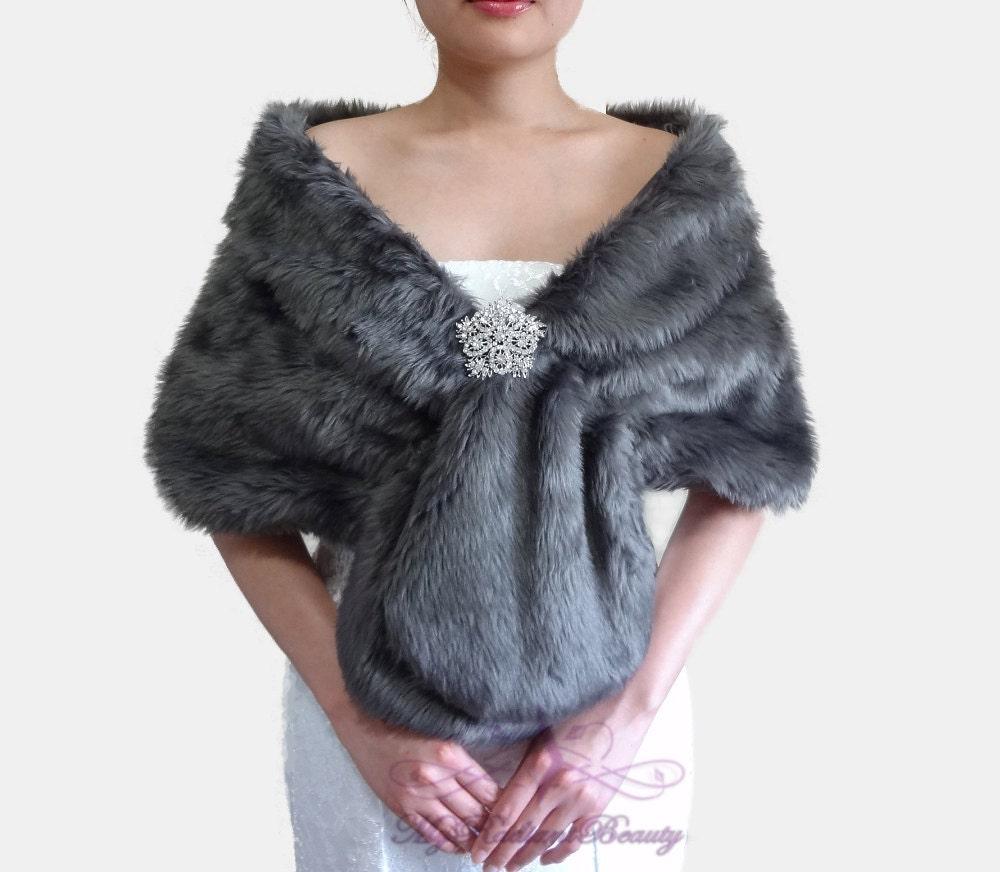 Faux fur wrap bridal dark gray faux fur stole by myradiantbeauty - Stoel fur ...