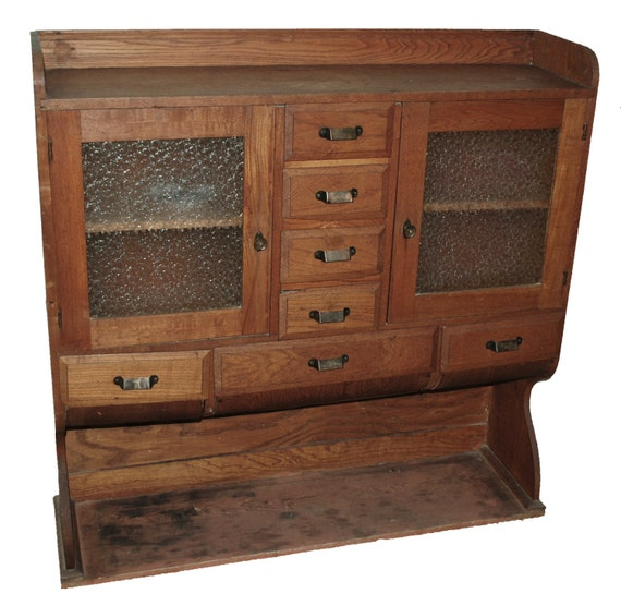 Hoosier Kitchen Cabinet: Antique Hoosier Cabinet Oak With Pressed Glass By MadgeAtHome