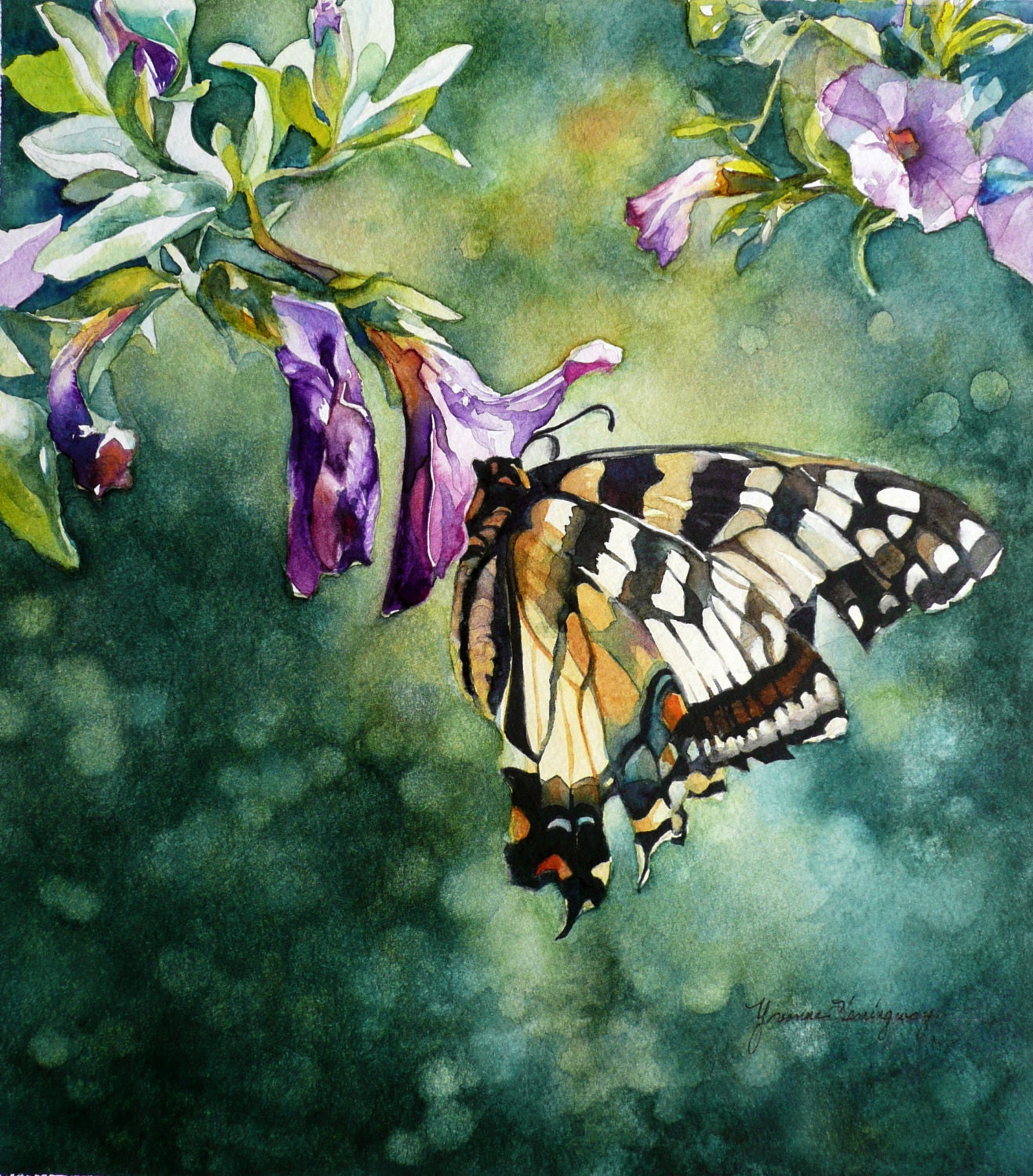 Butterfly and Flowers Painting-Original by YvonneHemingway ...