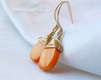 Apricot Mother of pearl Gold filled Earrings