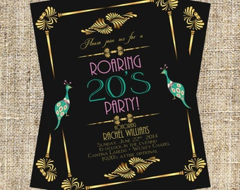 Great Gatsby Wedding Invitation Roaring 20's Party Art