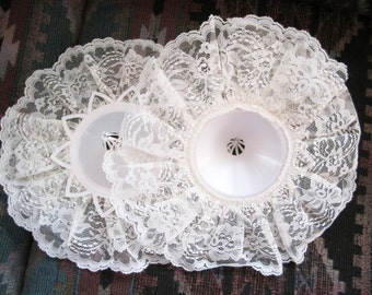 REDUCED PRICE/// Two  lace bouquet holders to make your own bridal bouquet, 11 inch, wedding, pale ivory, New Store Stock