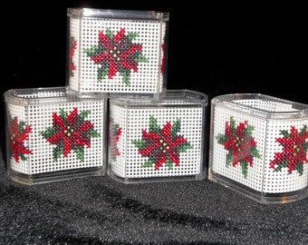 Poinsettia cross stitch napkin rings, set of four