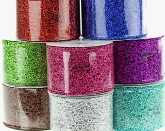 Open Weave Glitter Ribbon, 2-1/2-inch, 10-yard