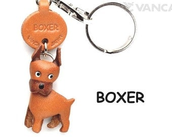 Boxer 3D Leather Dog Keychain Keyring Purse Charm Zipper pull Accessory *VANCA* Made in Japan #56711   Free Shipping