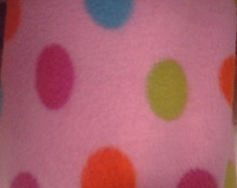 Multi Colored Polka Dots On Pink Fleece Fabric By The Yard