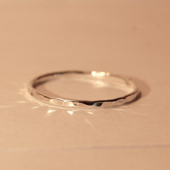 silver stacking ring thin silver ring 16g silver thumb