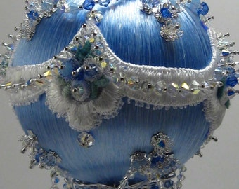 Blue Ice - Victorian Theme - A Finished Hand Made Beaded Satin Ornament With Crystals