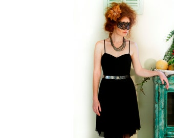 Black Midi Dress / Ballerina Dress / Chiffon Dress / Women Clothing / Shoulder Straps Dress / Party Cleavage Dress / Bridesmaid Dress