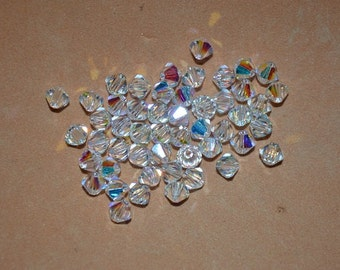 24 CLEAR AB 5mm Bicone Beads - Article 5328, 5301 5mm, Clear AB Swarovski Beads