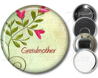 Heart Grandmother Pocket Mirror, Fridge Magnet, Bottle Opener Keychain, Pin Back Button, Makeup Mirror, Pink & Green, Grandmother Gift