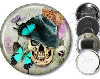 Skull Pocket Mirror, Skull Mirror, Fridge Magnet, Bottle Opener, Skull Key Ring, Pin Back Button, Skull Keychain, Make Up Mirror Butterflies
