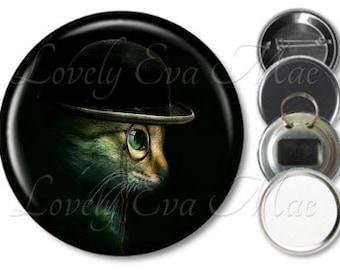 Steampunk Cat Pocket Mirror, Make Up Mirror Refrigerator Magnet, Bottle Opener Key Ring, Pin Back Button Purse Mirror Cat Keychain, Cat Gift