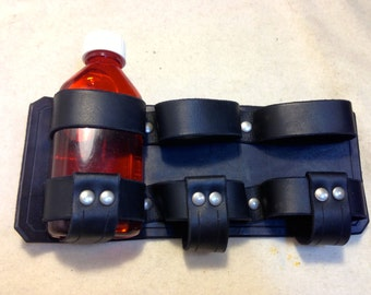 Black leather belt-mounted potion rack for Dystopia Rising LARP