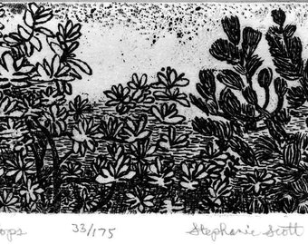 Tree Tops - Original Etching & Engraving, Hand-printed, Limited Edition
