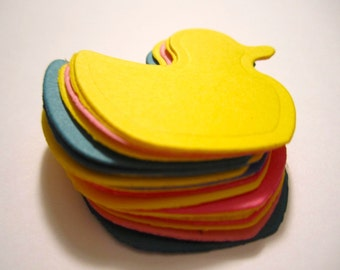 25 Paper Duck Die Cuts, Rubber Duck Cut Out, Baby Shower, Easter (1.25 by 1.25 to 4.25 by 3.5 inches) - Scrapbook, Baby, Custom, Gift Tag
