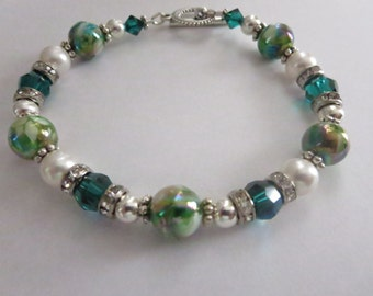 "Emerald Green Bracelet With Swarovski Crystal, Pearl""s And Silver"