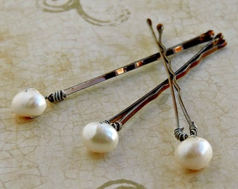 Sale 25 %  Freshwater pearl bobby pin bridal bride hair accessories wedding set of 3