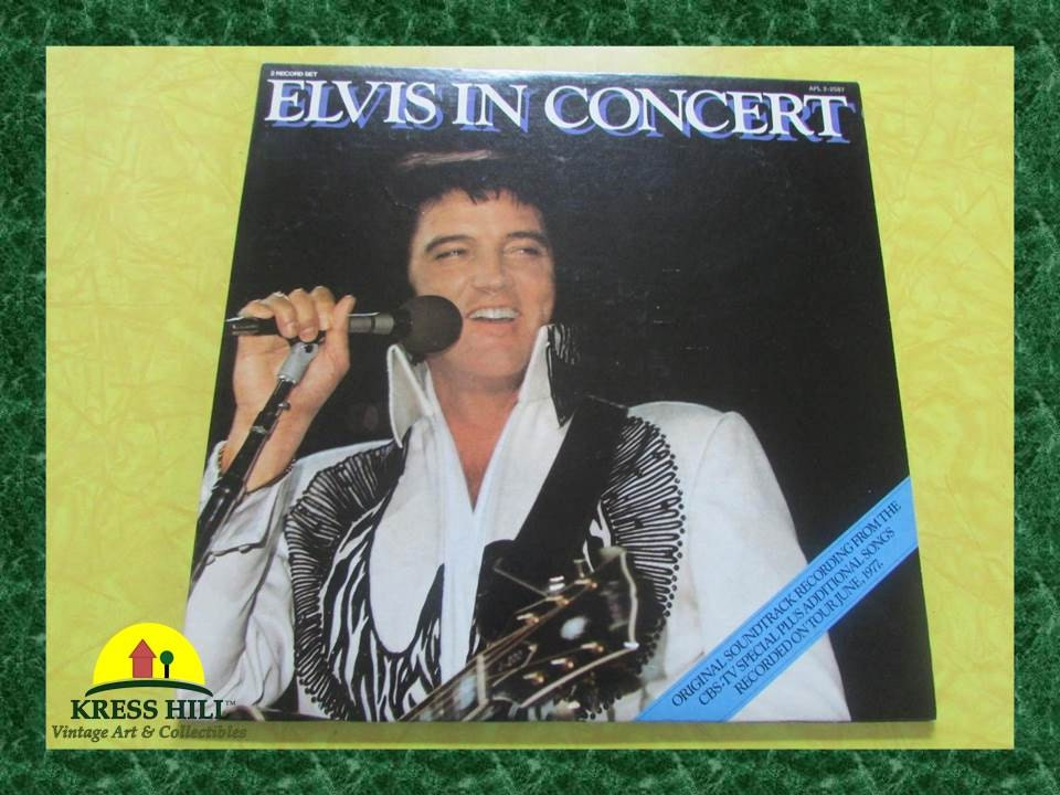 Elvis In Concert Two Vinyl Record Set Vintage 1977 Rca