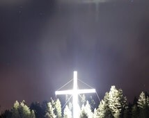 TRIPLE REFLECTION CROSS - Metal Ready to Hang Print of this Supernatural event near Bigfork Montana. maricle, Jesus, christ, best selling