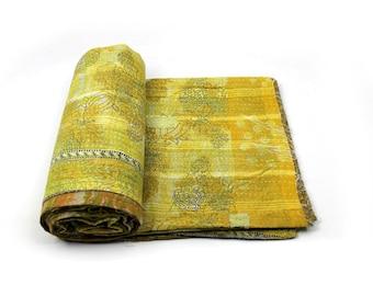 Vintage Throw Kantha Quilt Indian Handmade Bedspread