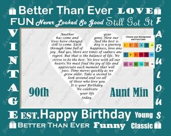 90th Birthday Gift 90th Heart Birthday Poem Gift Ninety Unique Fun Cute 8 X 10 Print
