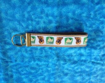 Golden Retriever ( Goldie) wristlet key fob holder keychain