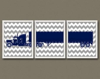 8x10 (3) NURSERY TRUCK PRINTS - Nursery Art, Nursery Decor, Children's Art, Transportation - Semi Truck / Big Rig