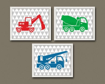 8x10 (3) BOYS' CONSTRUCTION PRINTS - Nursery Art, Nursery Decor, Children's Art,  Wall Art - Dump Truck, Bulldozer, and Earth Mover