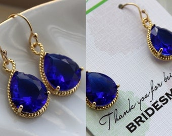 Gold Cobalt Earrings Electric Blue Wedding Jewelry Bridesmaid Earrings Bridesmaid Gift Bridal Jewelry Personalized Note Cobalt Blue Jewelry