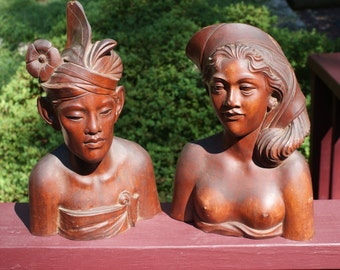 Breathtaking Vintage Pair Of Balinese Hand Carved Wood Busts