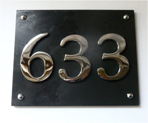 Modern large slate and chrome house number by atlantichardware for Big modern house numbers