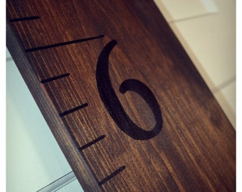 6 Foot Oversized Wooden Ruler Growth Chart (Dark Walnut Colored)