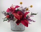 Burgundy Flower Arrangement SALE 15%OFF, Silk flowers, Rustic Decor, Artificial Floral Arrangement