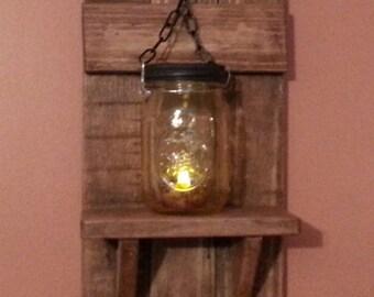 Rustic Mason jar Candle Holder, Country Decor,  sconce candle holder, lantern shelf, reclaimed wood candle Holder Shelf , Priced 1 Each