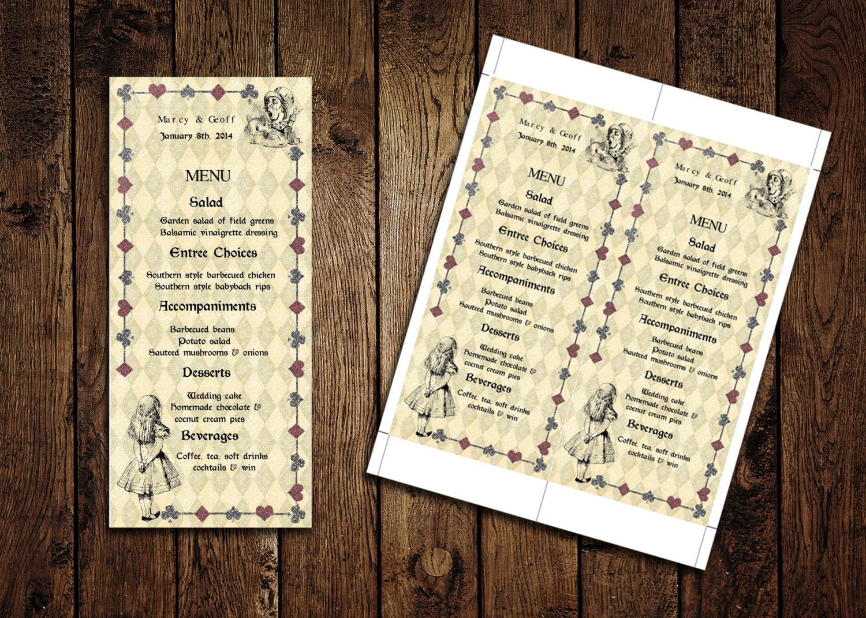 Printable Menu Card Template – Alice in Wonderland – Wedding ...